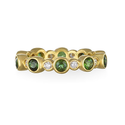 Rolling Green Tourmaline Eternity Ring
