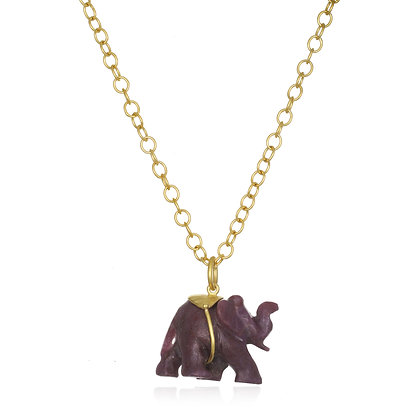 22K Gold Ruby Elephant Pendant Necklace