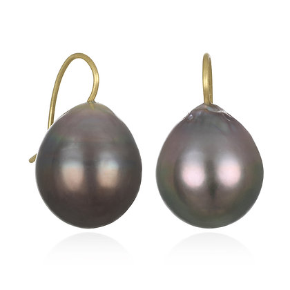 Black Tahitian Pearl Drop Earrings
