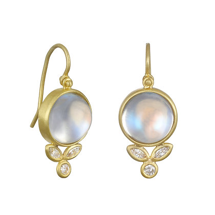 Moonstone Diamond Petal Earrings