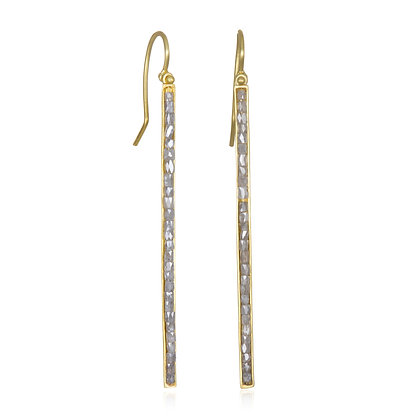 Silver Diamond Bar Earrings