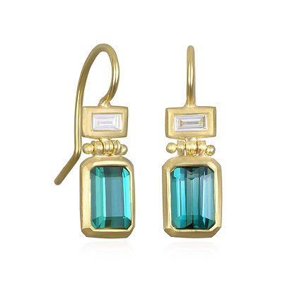 Blue Green Tourmaline and Diamond Hinge Earrings
