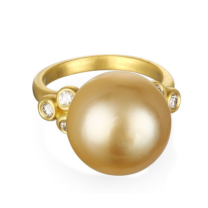 Golden South Sea Pearl Ring With Diamonds