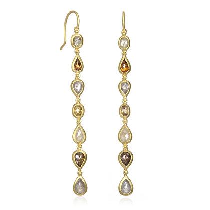 Milky Diamond Line Earrings