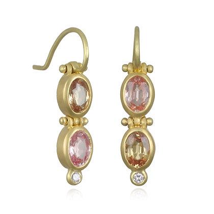 Hinged Peach Pink Sapphire and Diamond Earrings