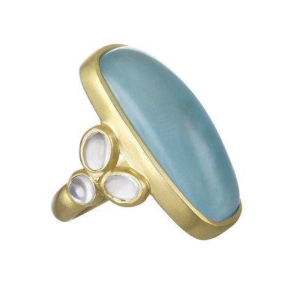 18k Gold Jumbo Aquamarine and Moonstone Ring