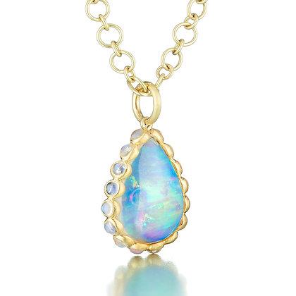 Ethiopian Opal and Moonstone Pendant