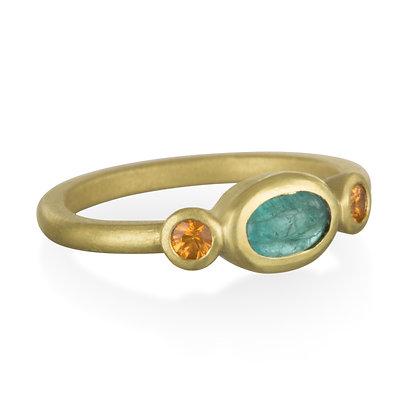 18k Gold Paraiba Tourmaline and Mandarin Garnet Ring