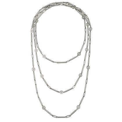 "Platinum Multi Planished Diamond Tube Link Chain 23"""