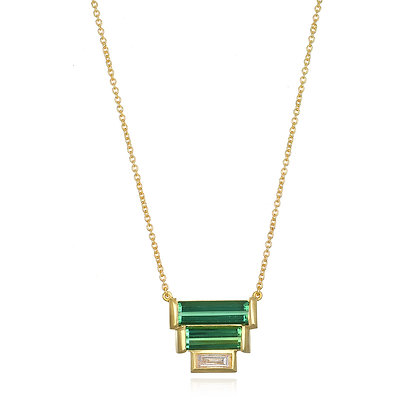 Three Tier Green Tourmaline and Diamond Baguette Necklace
