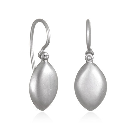 Matte Platinum Marquis Shaped Chiclet Earrings