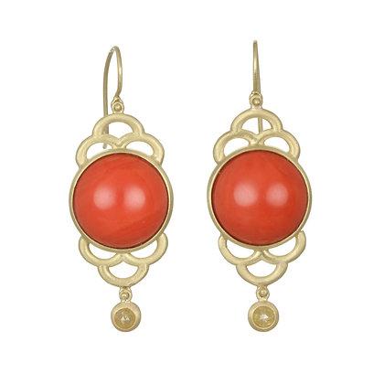 Coral Diamond Scallop Earrings