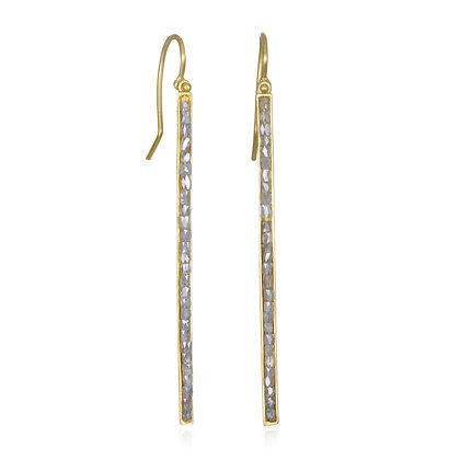 18K Gold Milky Diamond Bar Earrings