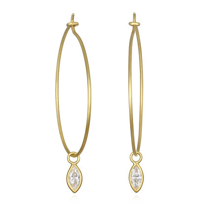 Marquise Diamond Wire Hoops