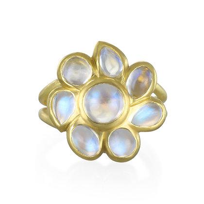 Ceylon Blue Moonstone Daisy Ring