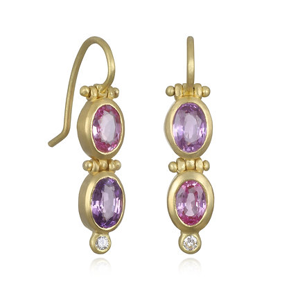Hinged Purple Pink Sapphire and Diamond Earrings