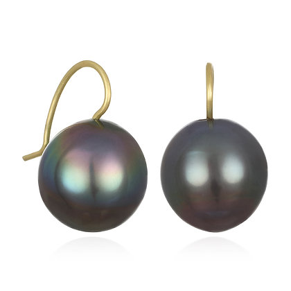 Black Tahitian Baroque Pearl Drop Earrings
