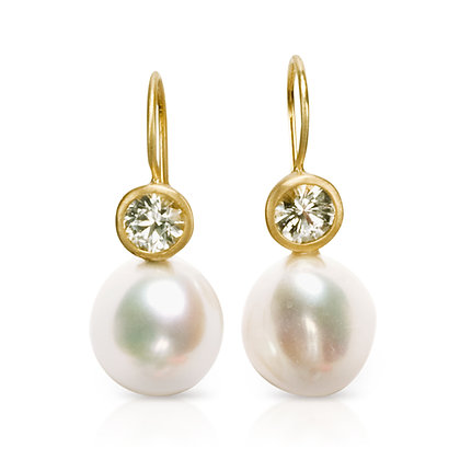 White Sapphire and Freshwater Pearl Earrings