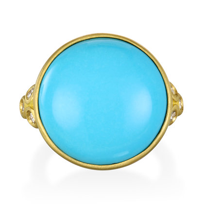 Turquoise White Diamond Ring