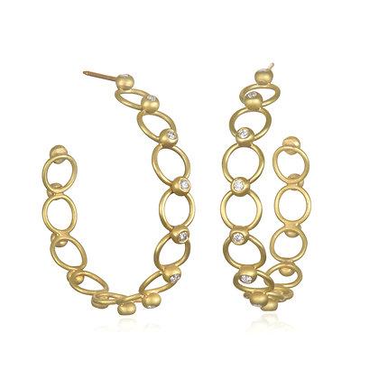 18K Gold Jump Ring Diamond Bead Hoop Earrings