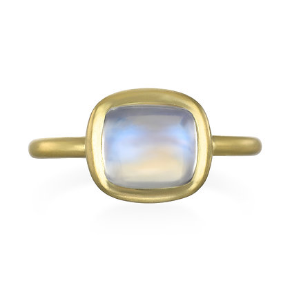Cushion Cut Moonstone Bezel Ring