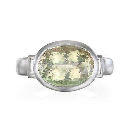 Platinum Celery Tourmaline Ring