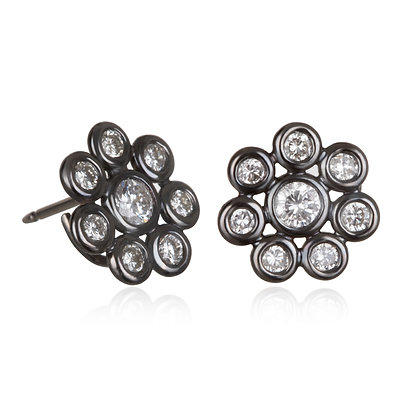 18K Black Rhodium Diamond Daisy Earrings