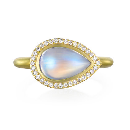 Pear Shaped Blue Moonstone Halo Ring