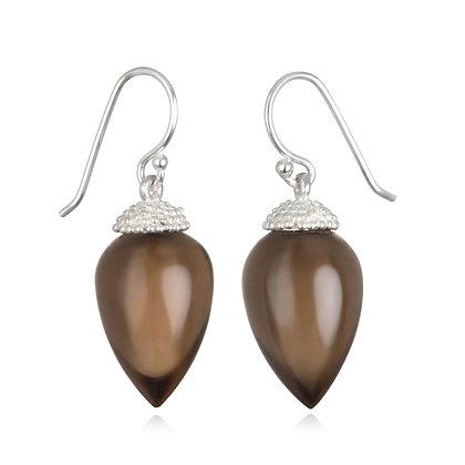 Sterling Silver Smoky Quartz Acorn Earrings