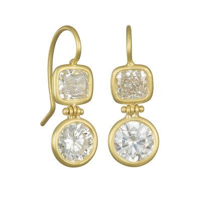 Hinged Double Diamond Drop Earrings