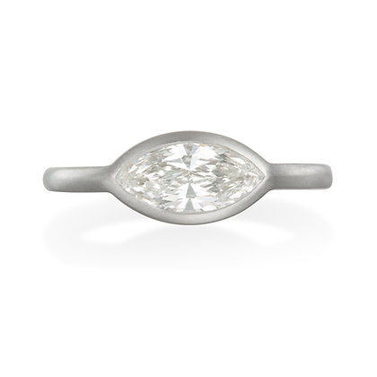 Matte Platinum Marquise Shaped Diamond Engagement Ring