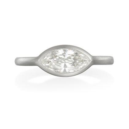 Matte Platinum Marquise Shaped Diamond Engagement Ring