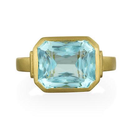 Cushion Cut Aquamarine and Diamond Ring