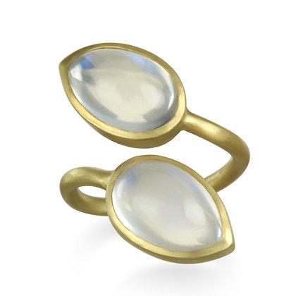 18k Gold Double Pear Shape Moonstone Ring