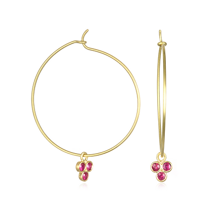 Gemstone Trio Drops with Hoops