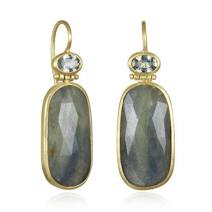 Blue-Green Sapphire Slice Earring