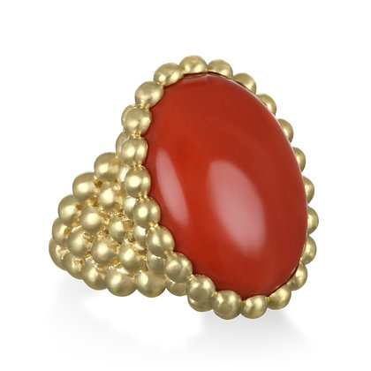 Coral Bezel Ring
