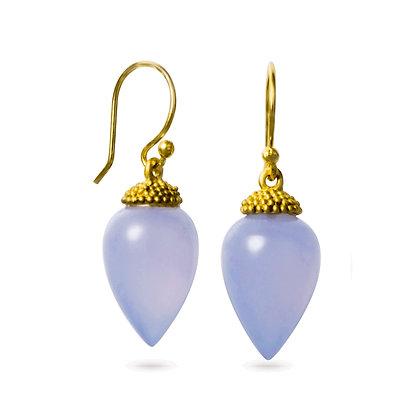18K Gold Chalcedony Acorn Earrings