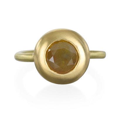 18K Gold Milky Diamond Solitaire Ring
