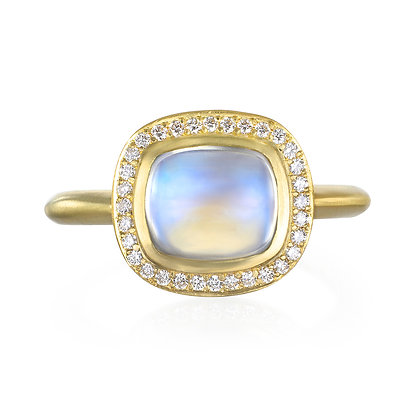 Cushion Cut Blue Moonstone Halo Ring