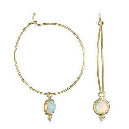 Opal Wire Hoops