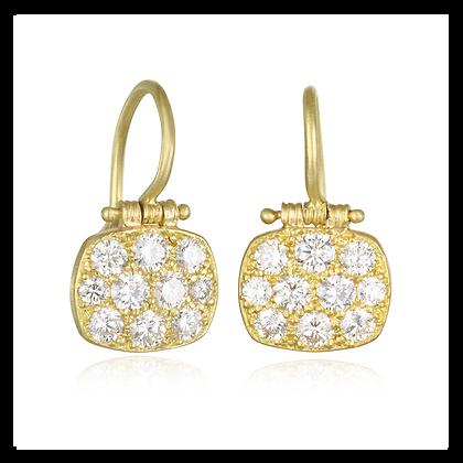 Micro Pave Diamond Chiclet Earrings