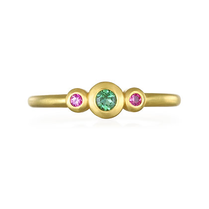 Green and Pink Tourmaline Stack Ring