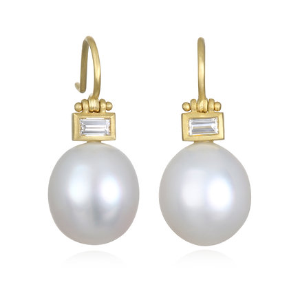 Baguette Diamond & Pearl Earrings
