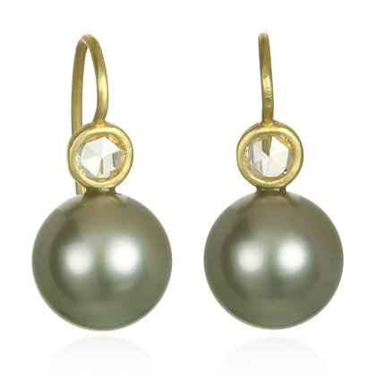 Pistachio Pearl and Diamond Earrings