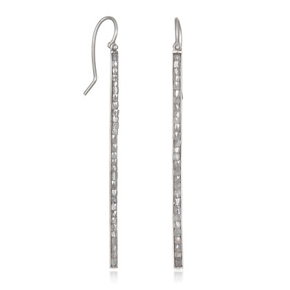 Matte Platinum Milky Diamond Hinged Bar Earrings