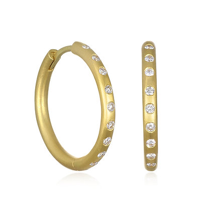 Burnished Diamond Hoops-Large