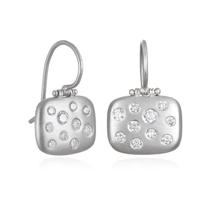Platinum Burnished Diamond Chiclet Earrings