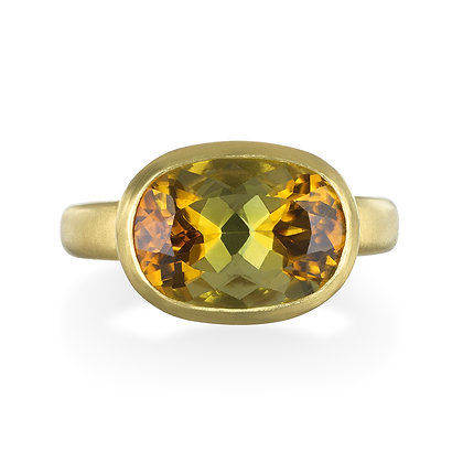 Yellow-Olive Tourmaline Ring