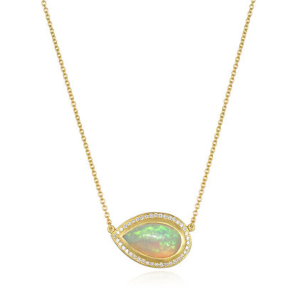 Ethiopian Opal and Diamond Pendant Necklace